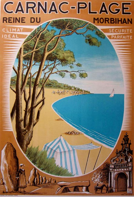 la bretagne s affiche carnac plage 1930 vintage posters gallery. Black Bedroom Furniture Sets. Home Design Ideas